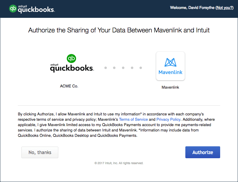 Setting up the Mavenlink Integration with QuickBooks Online