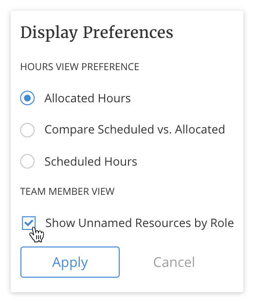 Master Planning Display Preferences for Team Member View